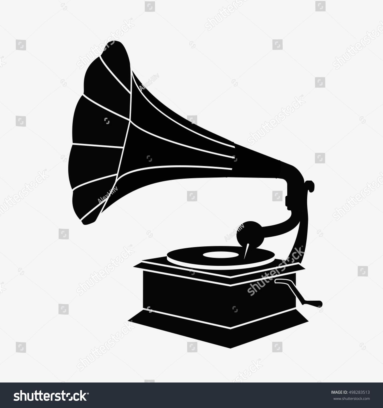 old gramophone silhouette flat vector stock stock vector royalty free 498283513 https www shutterstock com image vector old gramophone silhouette flat vector stock 498283513