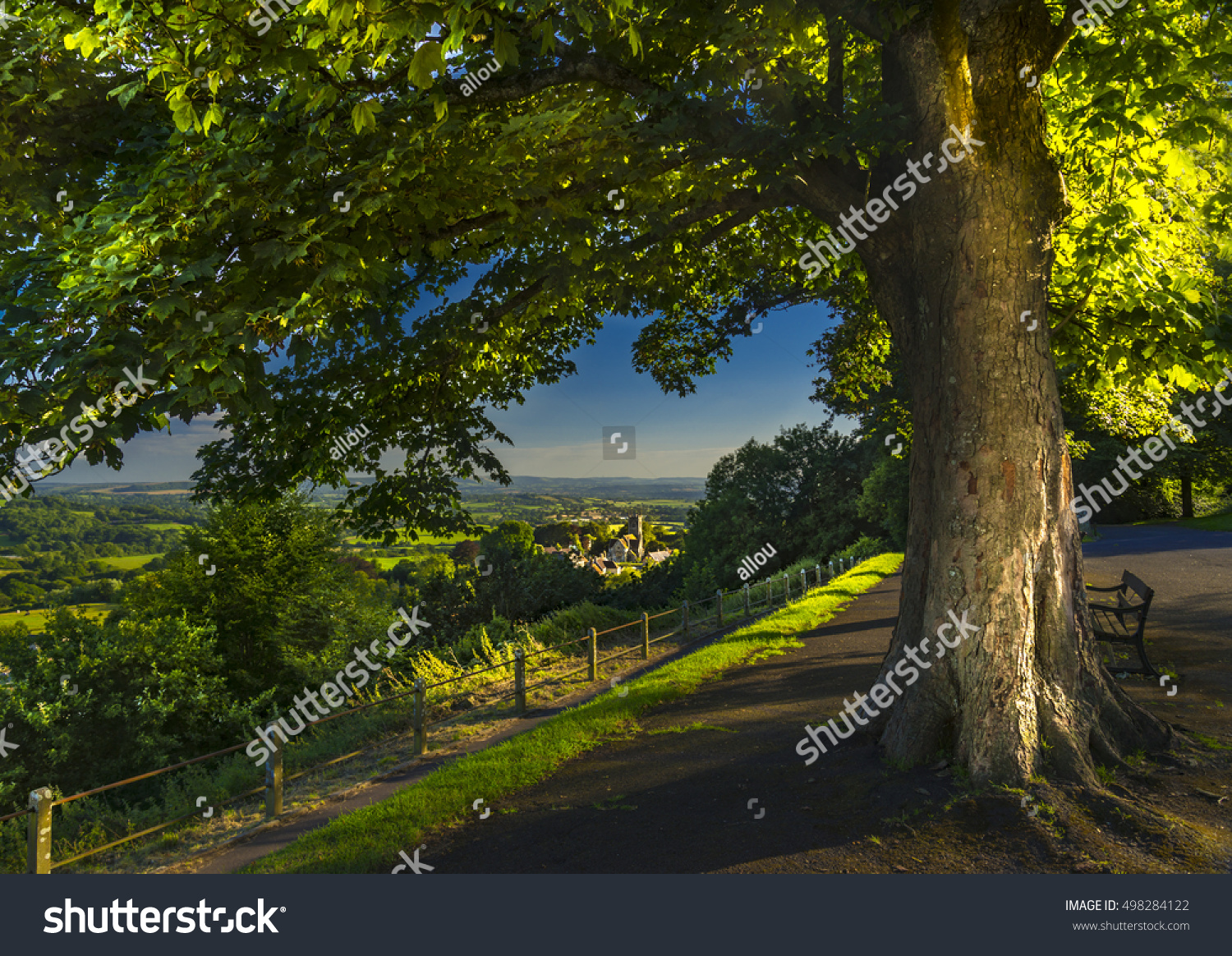 View Over Gold Hill Shaftesbury Early Stock Photo