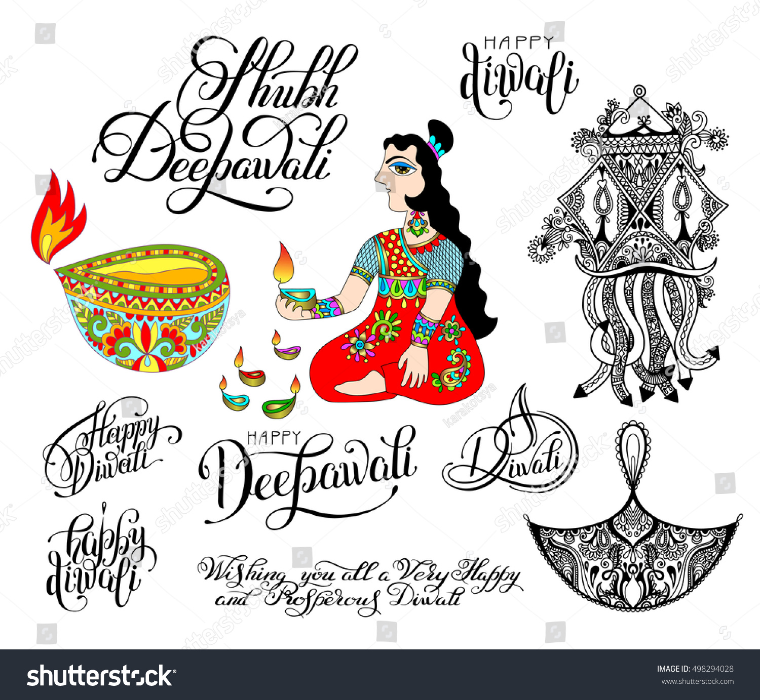 Set of black and white hand drawing design element and lettering inscriptions for diwali celebration