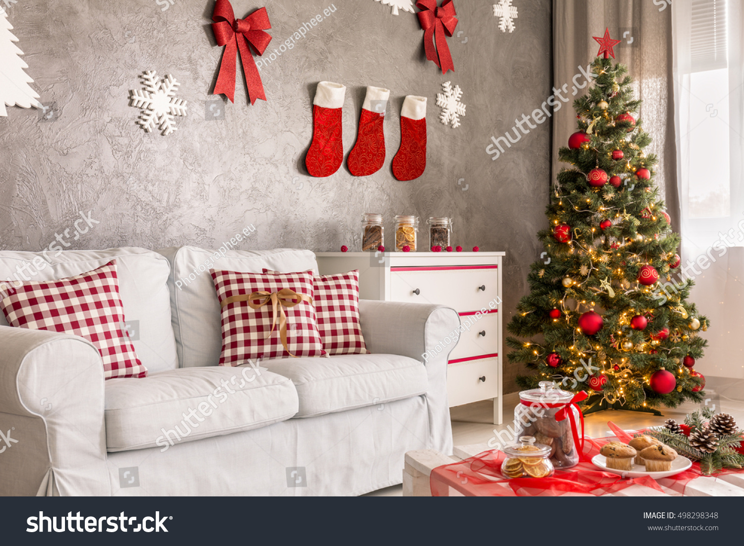 modern living room grey white christmas stock photo safe to use