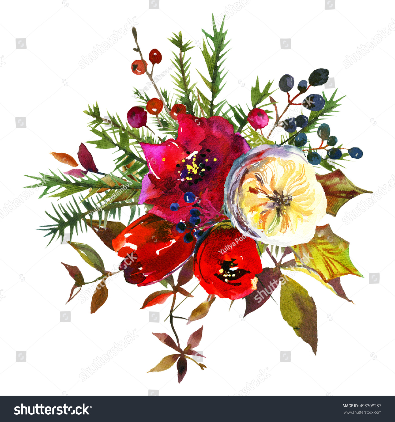 Winter Christmas Floral Bright Bouquet Red Stock Illustration ...