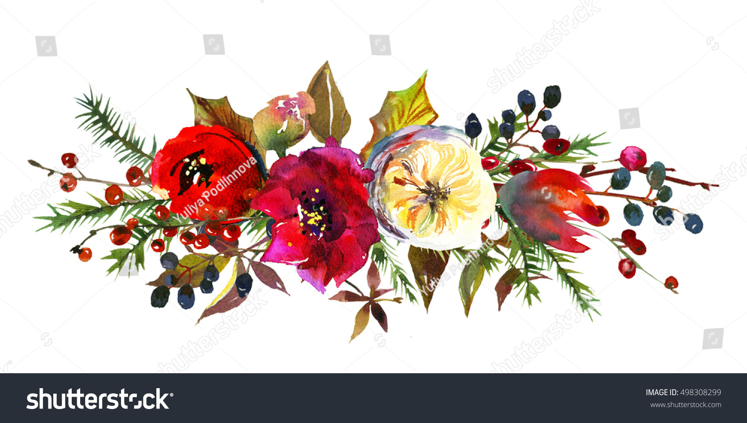 Winter Christmas Floral Bouquet Red Burgundy Stock Illustration ...