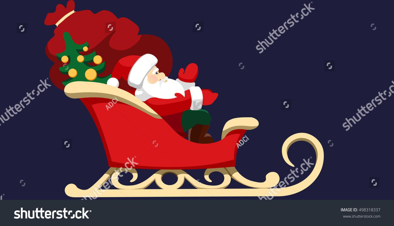 santa claus sitting his sleigh presents stock illustration 498318337
