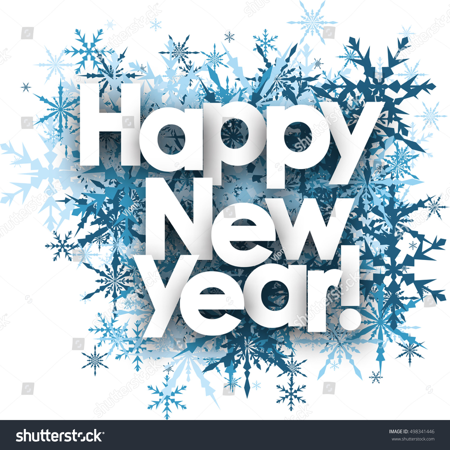 happy new year white background with blue snowflakes vector illustration