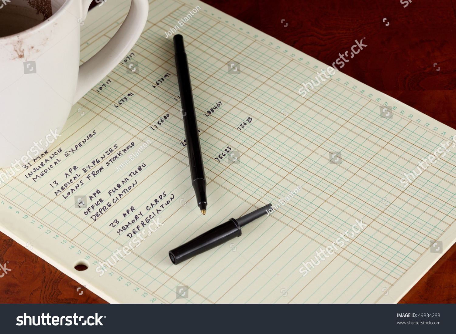 coffee cup with general ledger sheet showing journal entries and black ballpoint pen on polished