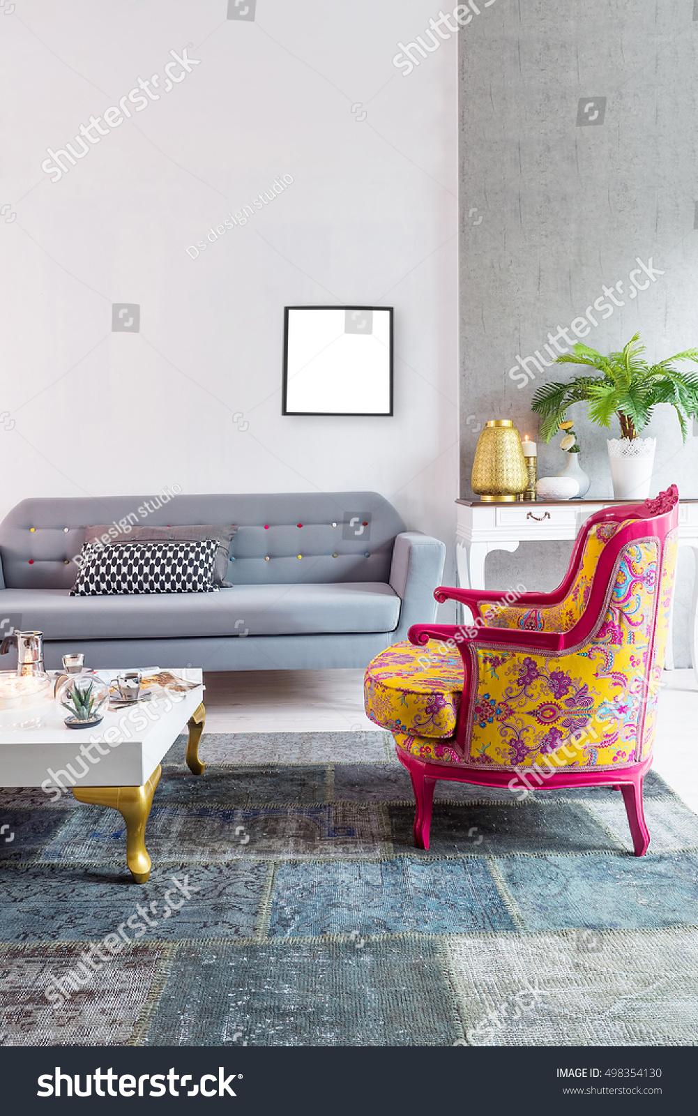 Modern Living Room Sofa Black Frame Stock Photo 498354130 Shutterstock