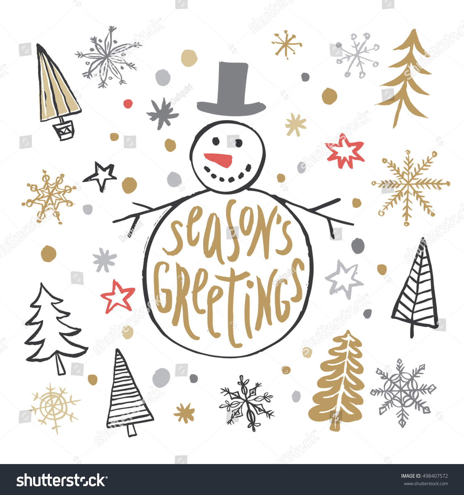Christmas greeting hand drawn card snowman stock vector 498407572 christmas greeting hand drawn card with snowman christmas trees and snowflakes seasons greeting handwritten kristyandbryce Choice Image