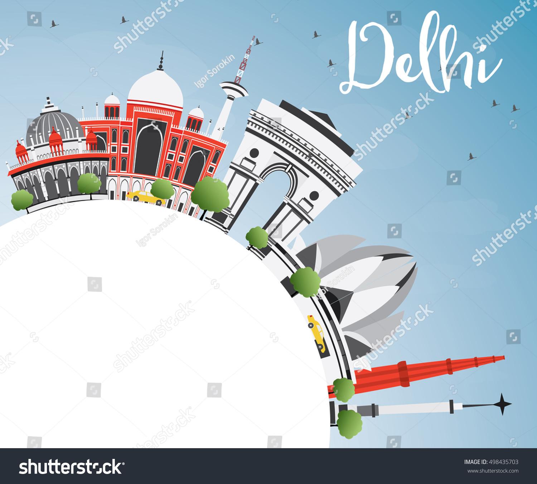 Delhi skyline gray buildings blue sky stock vector for Space arch delhi