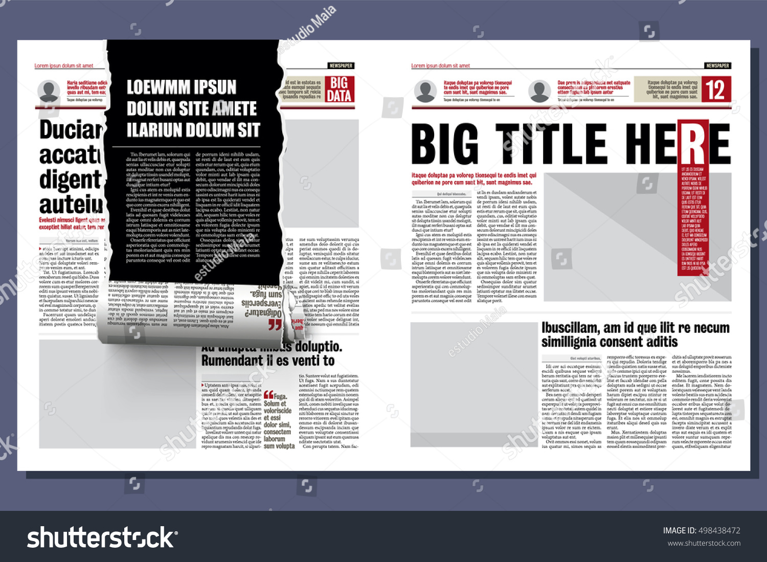 Rolled Ribbon Newspaper Revealing Hidden Story Vector – Newspaper Layout Template