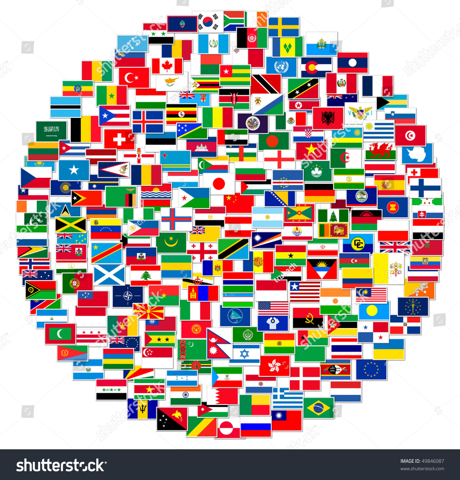 Collection World Flags On White Isolated Stock Illustration ...