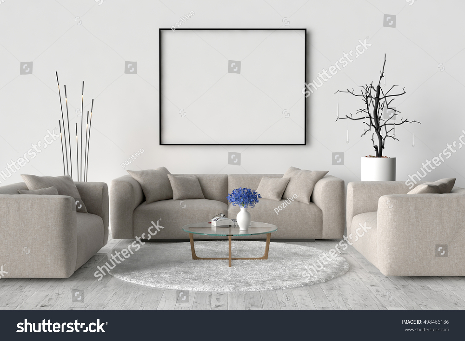 Living Room Sofa Two Chairs Table Stock Illustration 498466186 Shutterstock