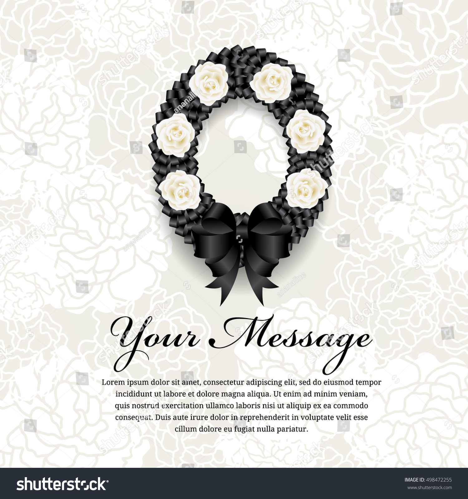Funeral card circle black ribbon wreath stock vector royalty free funeral card circle black ribbon wreath bow and white rose on soft flower abstract background izmirmasajfo