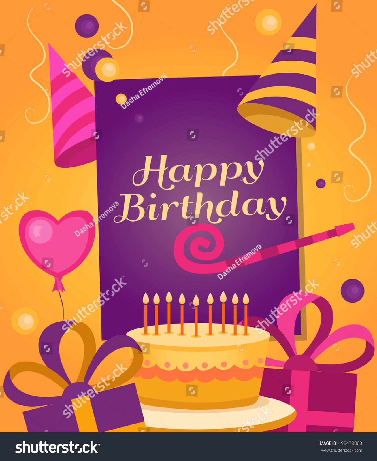Happy Birthday Banner With Gift Cake Balloon Klaxon Cap Vector Background
