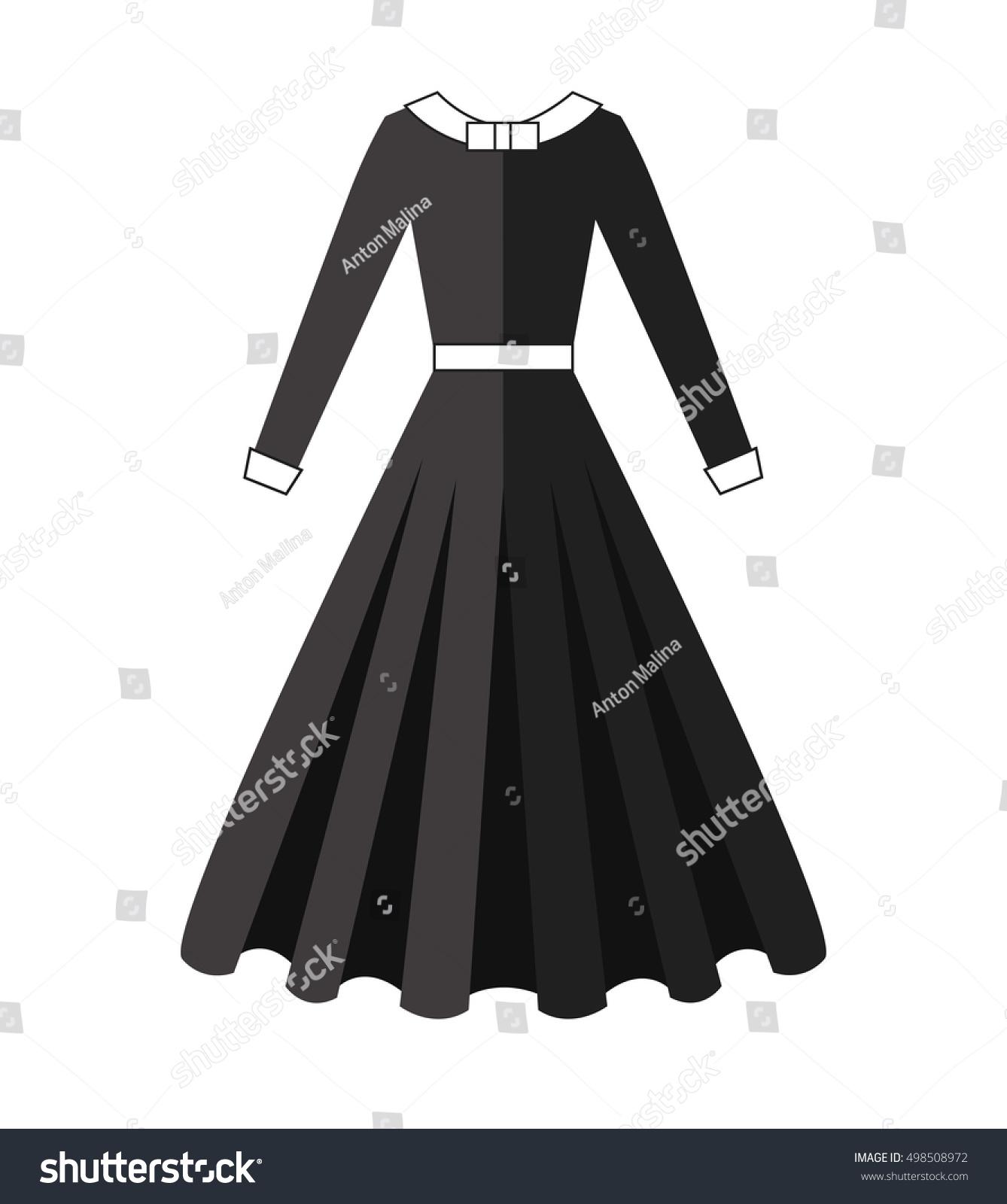 Puritan Dress Black Wear Long Skirt Stock Vector Royalty Free