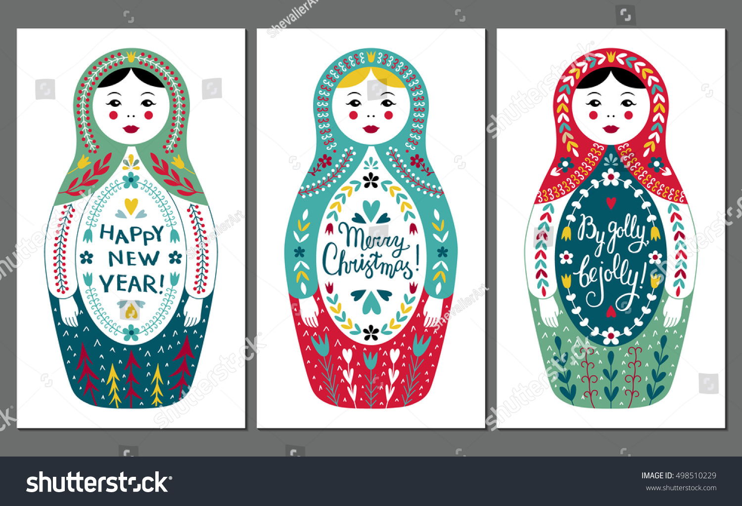 Colorful russian traditional nested doll vector stock vector colorful russian traditional nested doll vector set vintage christmas greeting cards with babushka and lettering kristyandbryce Choice Image