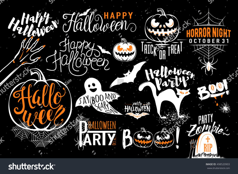 Happy Halloween Celebration Icon Label Templates Stock Vector ...