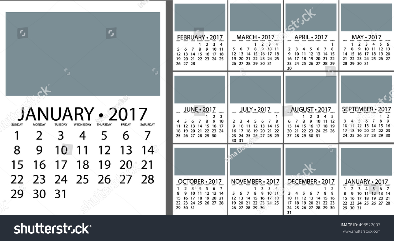 Monthly Calendar Template Vector : Calendar planner design vector template stock