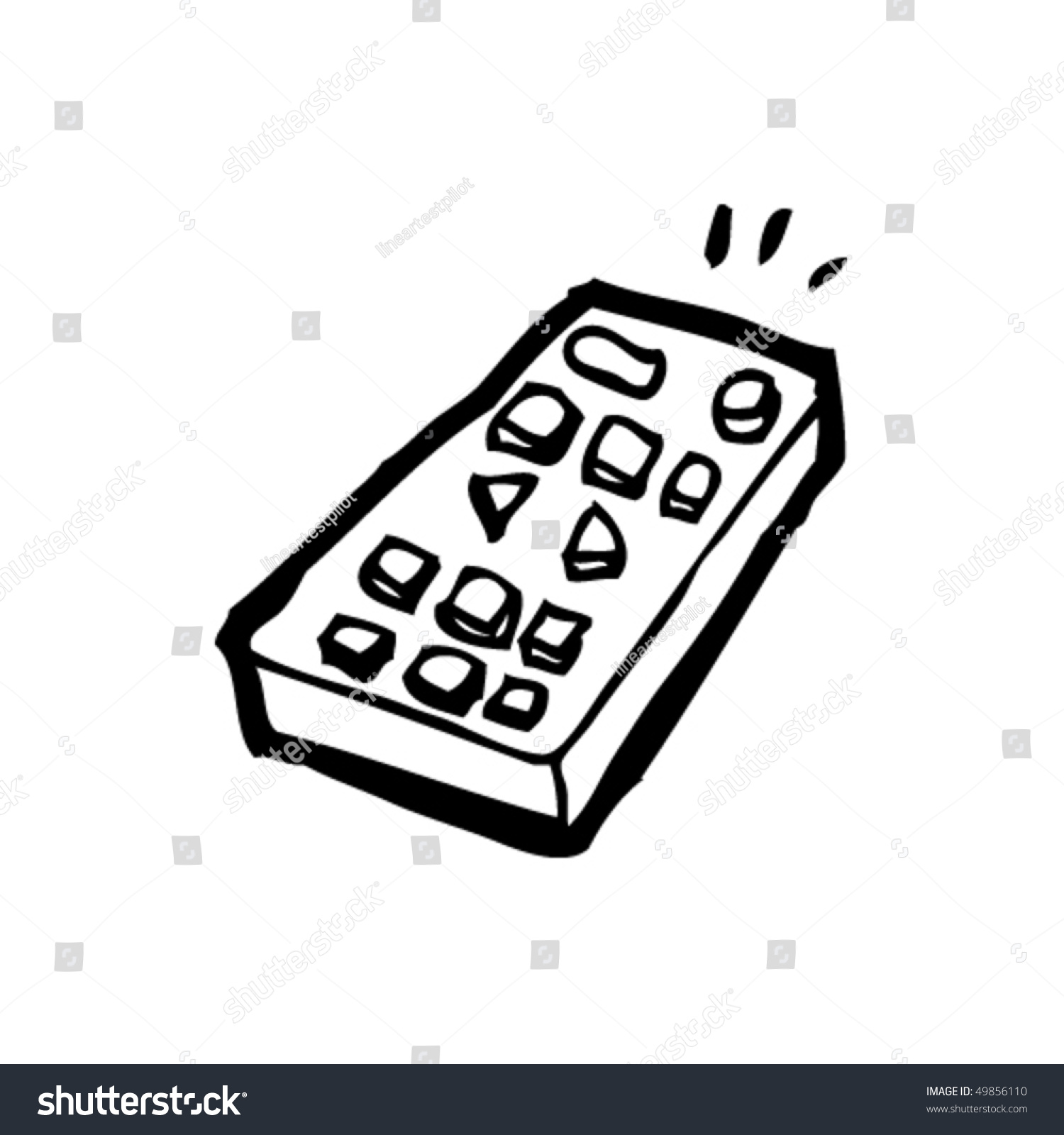 remote control drawing. quirky drawing of a remote control