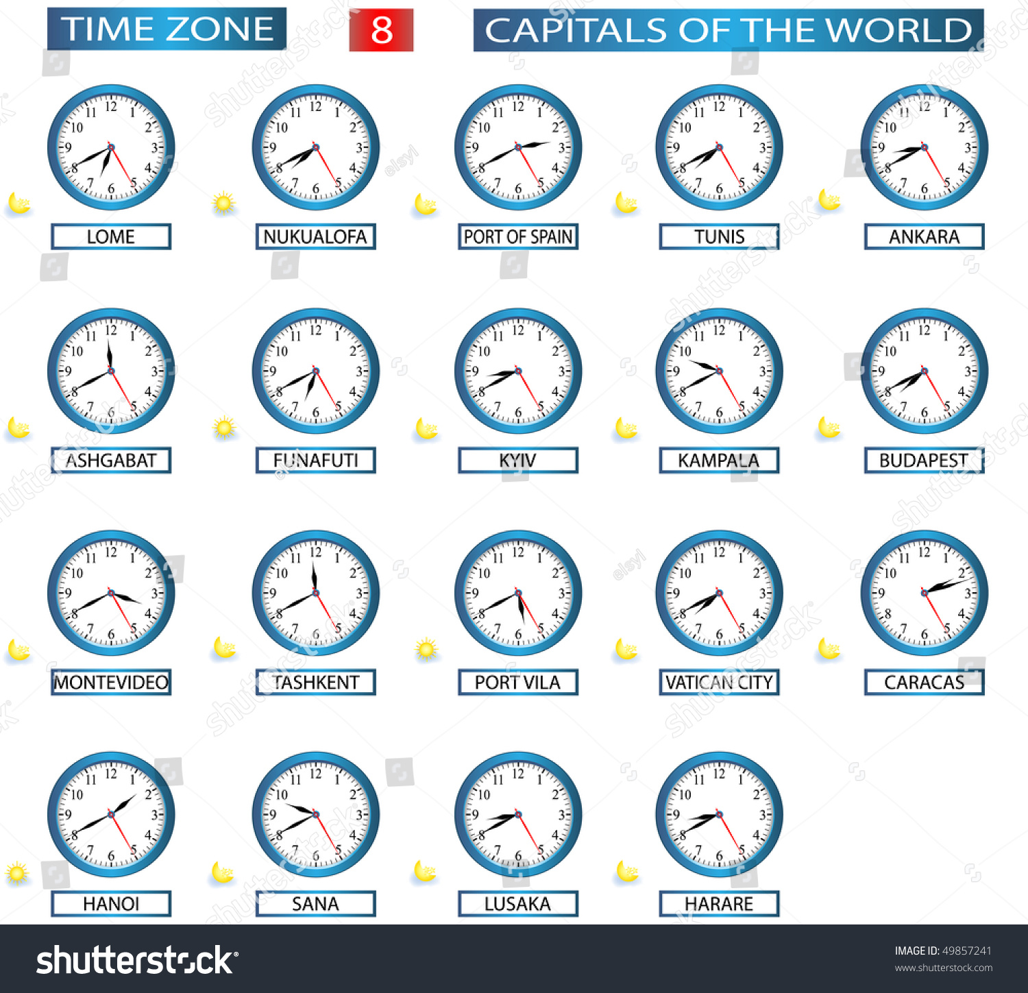 time zone 8 all capitals world stock vector shutterstock