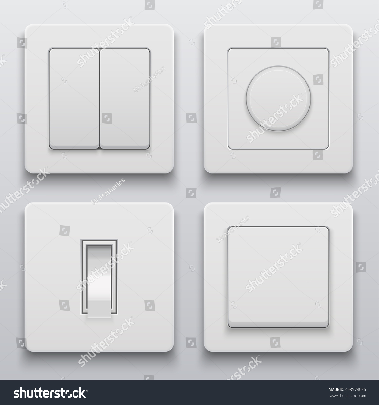 Vector Modern Light Switch Icons Set Stock Vector (Royalty Free ...