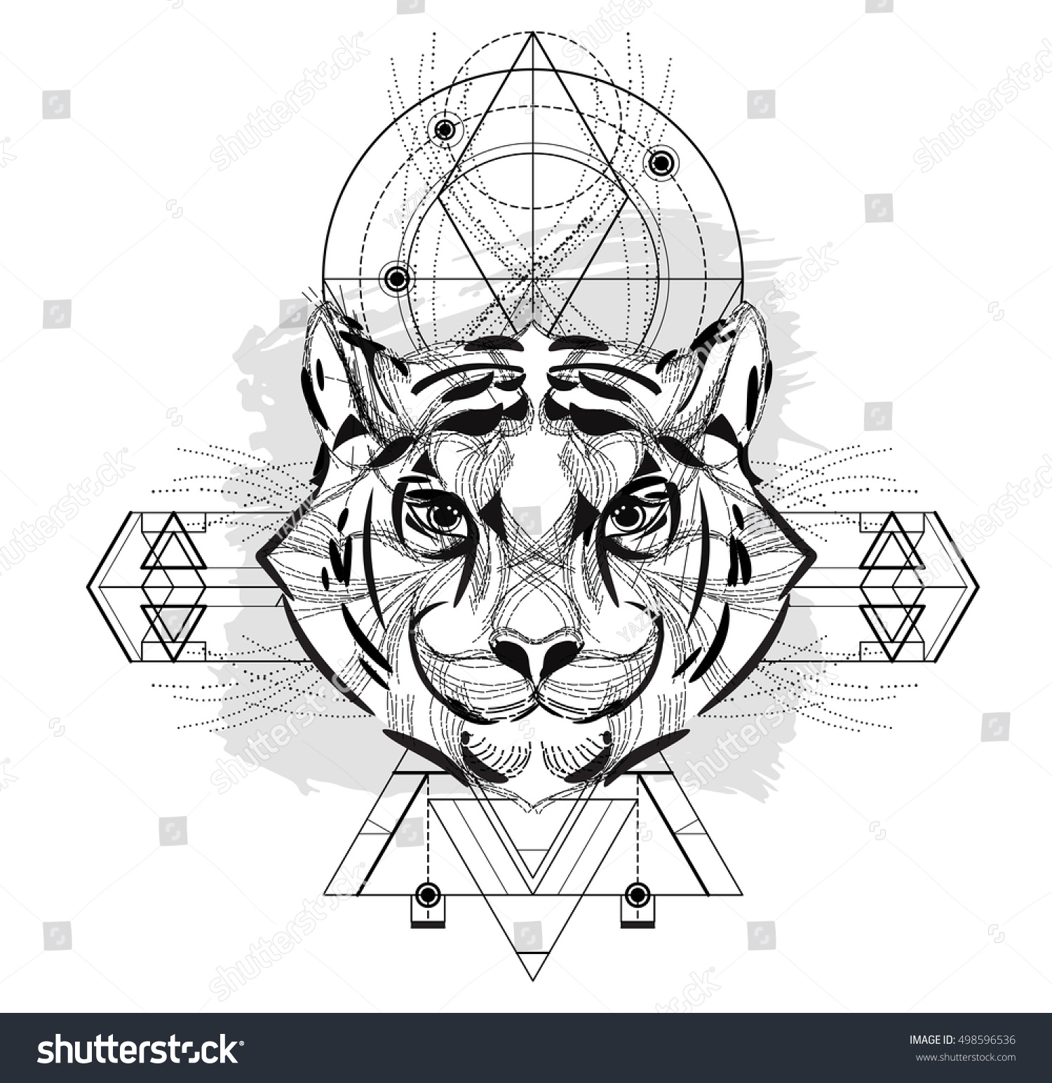 Tiger head triangular icon geometric trendy stock vector image - Animal Head Triangular Icon Geometric Trendy Line Design Vector Illustration Ready For Tattoo Or Adult Relax Anti Stress Coloring Book Tiger Head