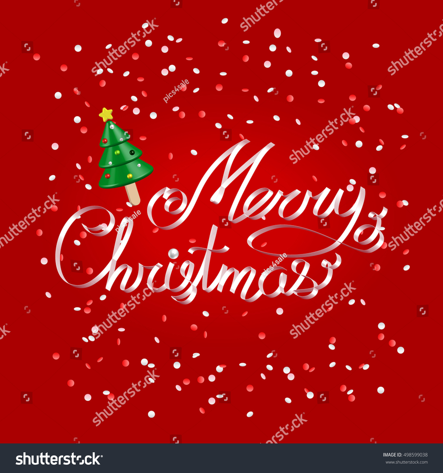 Merry christmas greetings white ribbon lettering stock vector merry christmas greetings white ribbon lettering over festive red background with christmas tree icecream and confetti kristyandbryce Image collections
