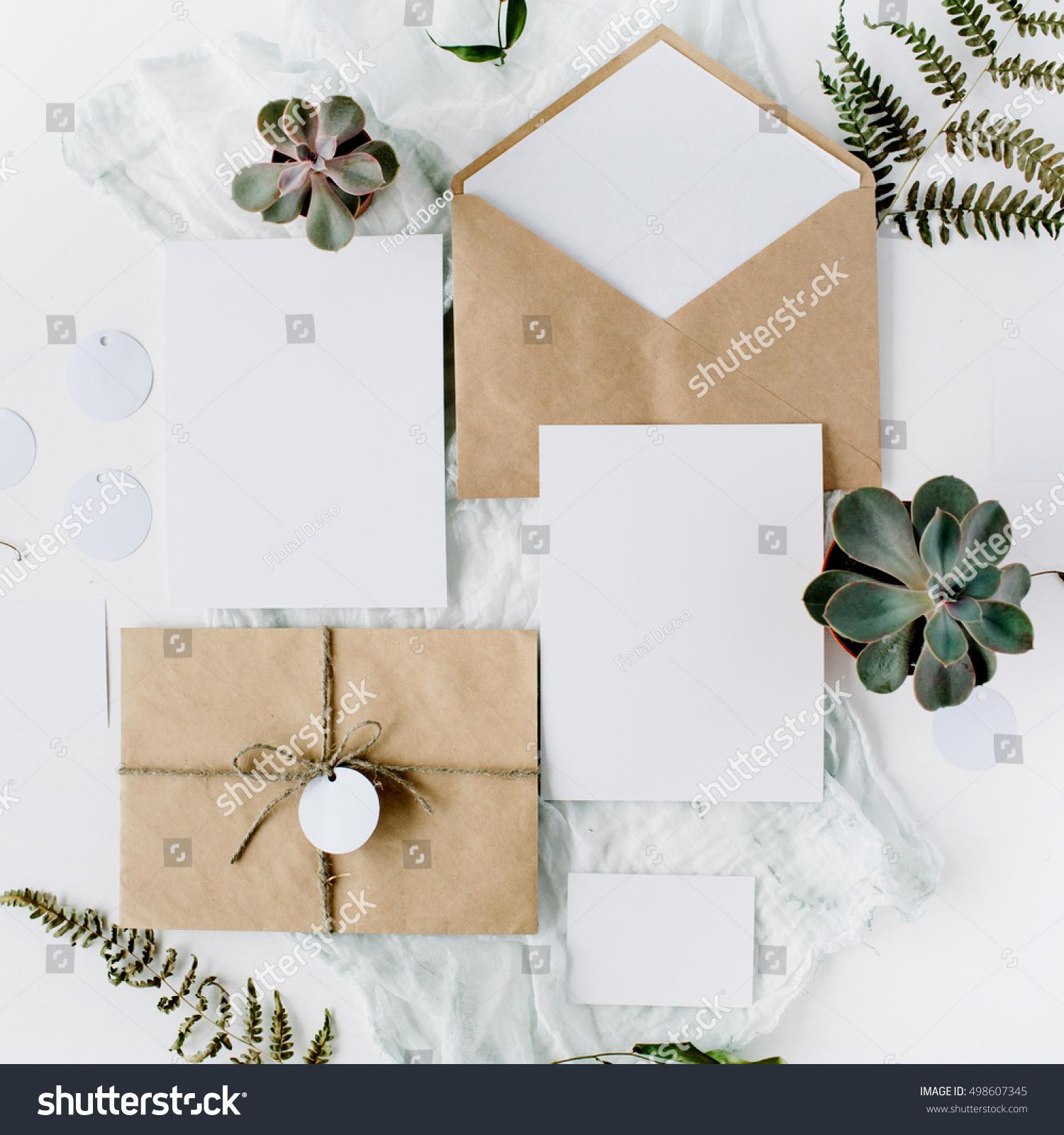 Flat Lay Workspace Wedding Invitation Cards Stock Photo (Royalty ...