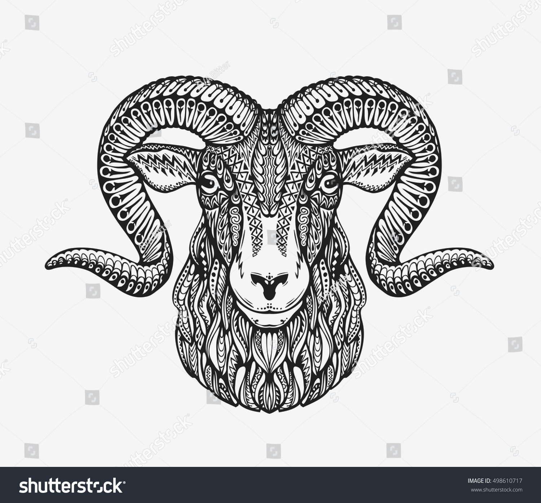 sheep ram mountain goat animal decorated stock vector 498610717