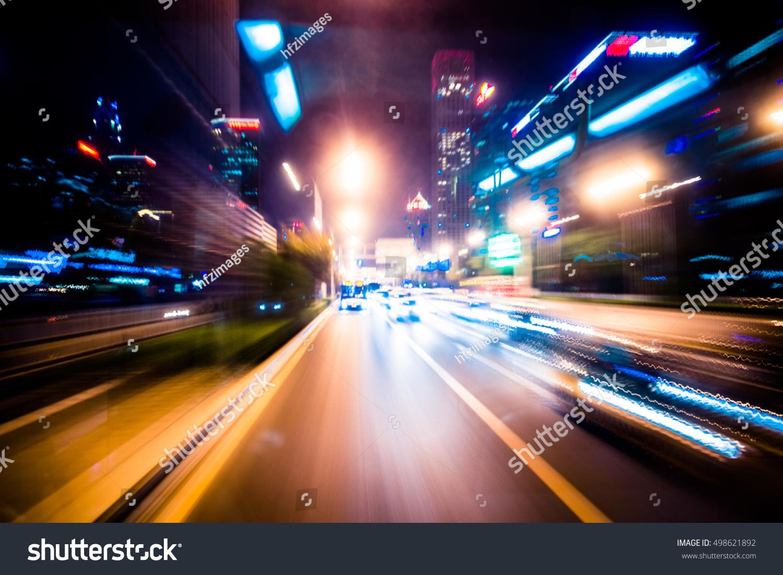 Blurred Traffic Light Trails On Road Stock Photo 498621892 ... for Traffic Light On Road At Night  76uhy