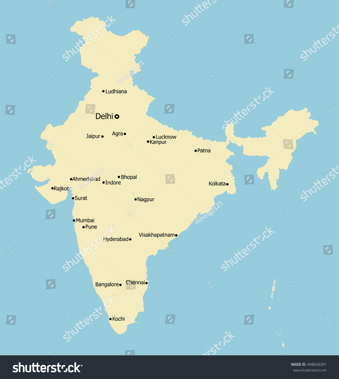 India Main Cities On Map Stock Vector Royalty Free 498630391