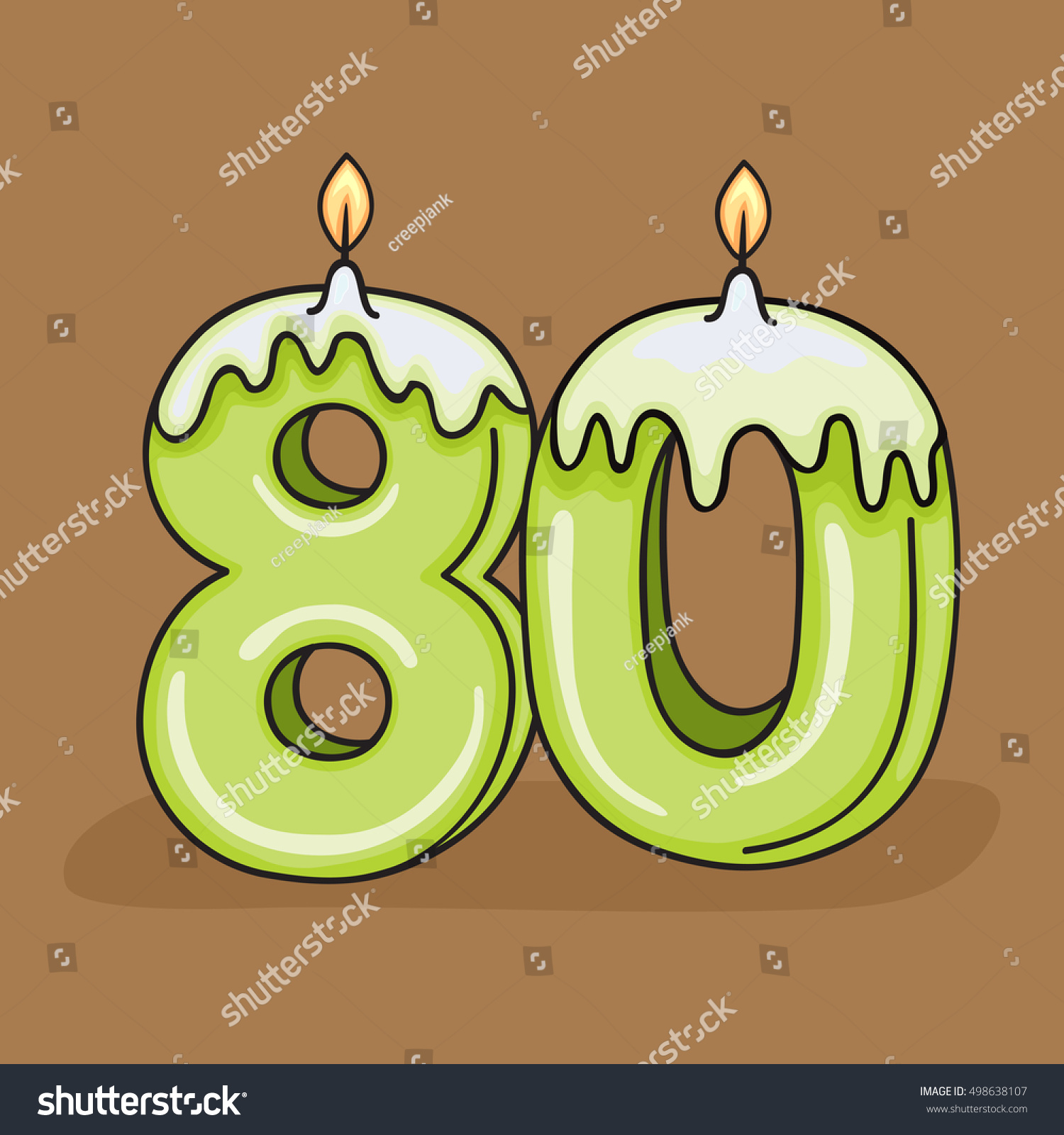 80th Birthday Candle Number Vector Design Stock Vector Royalty Free