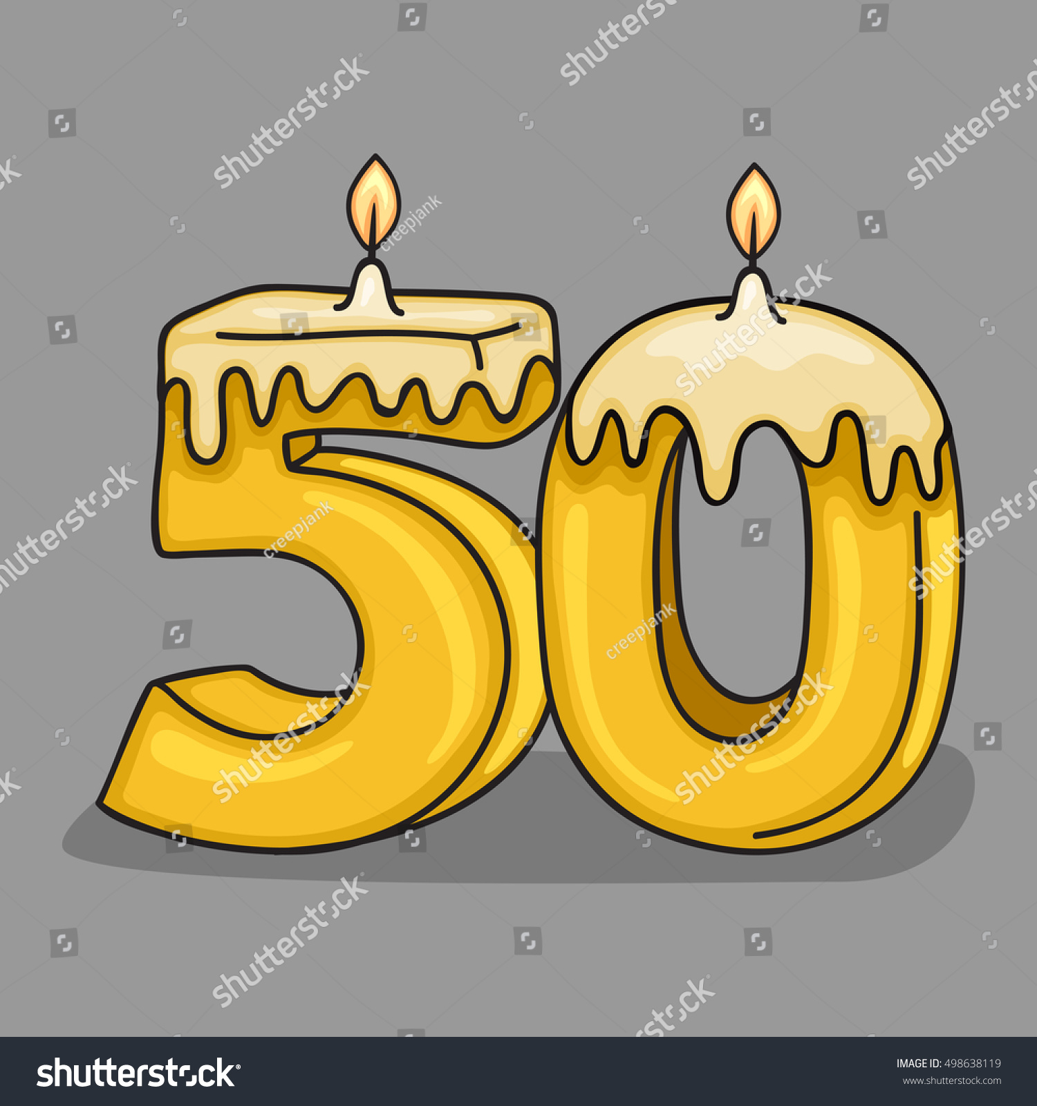 50th Birthday Candle Number Vector Design Template Elements For Your Celebration