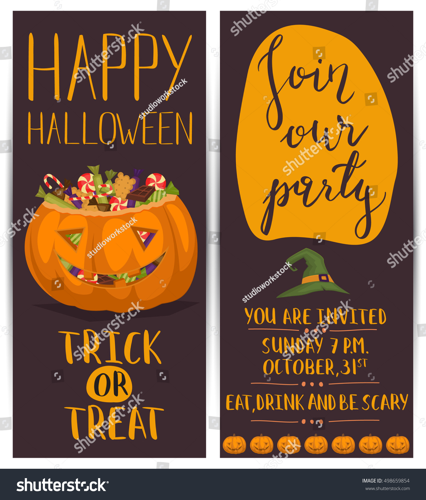 Vintage Halloween Party Flyers Scary Pumpkin Stock Vector ...