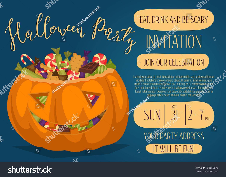 Vintage Halloween Party Invitation Scary Pumpkin Stock Vector ...