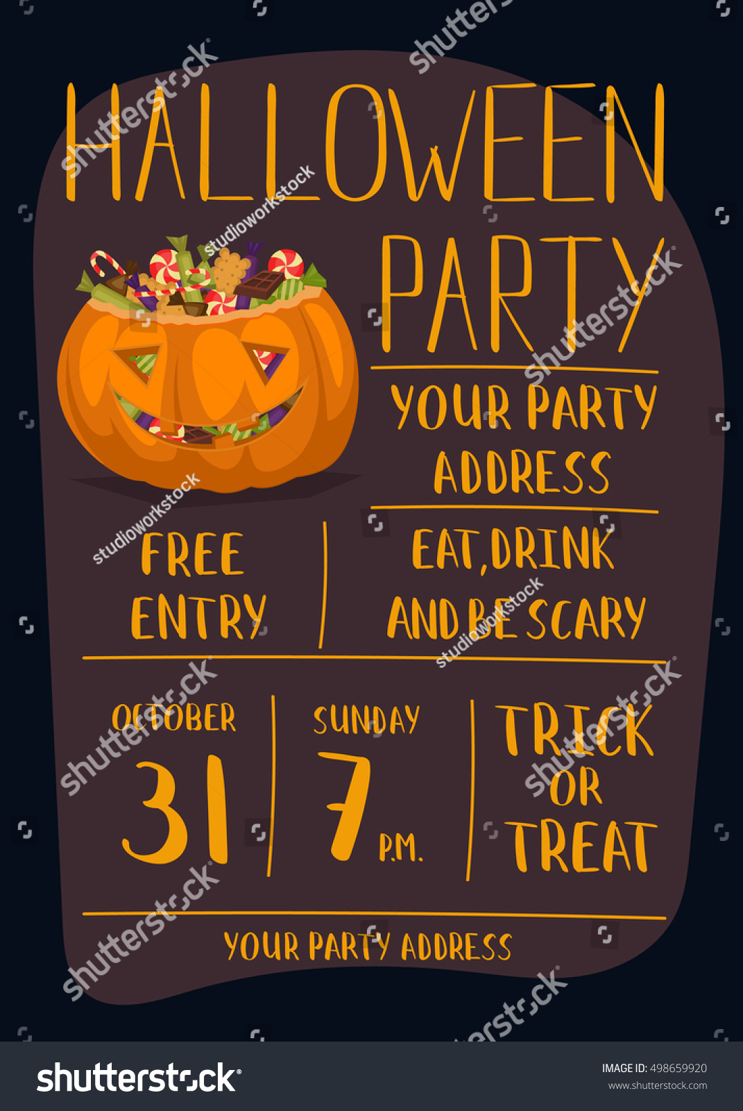 Vintage Halloween Party Invitation Smiling Pumpkin Stock Vector ...