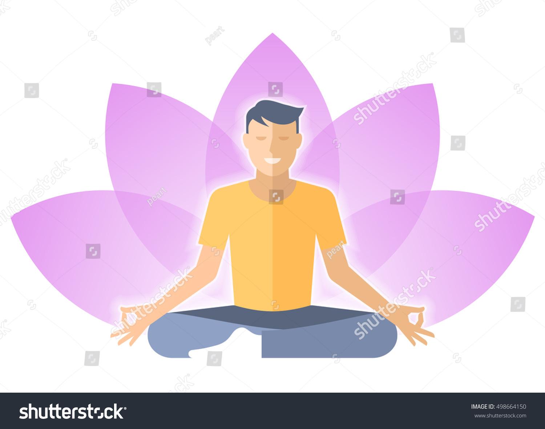 Young Man Meditates Lotus Pose Male Stock Vector Royalty Free