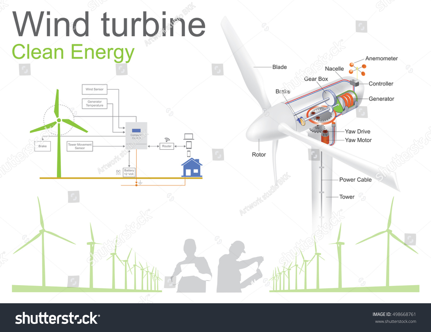 Wind Turbine Structure Clean Energy Illustration Stock Vector Power Diagrams