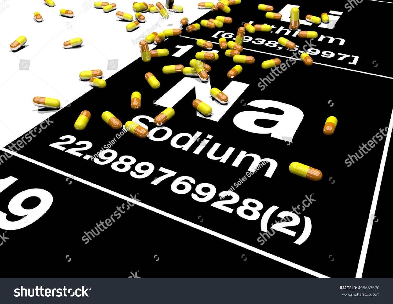 Sodium Electrolyte Supplement Capsules Na Sodium Stock Illustration