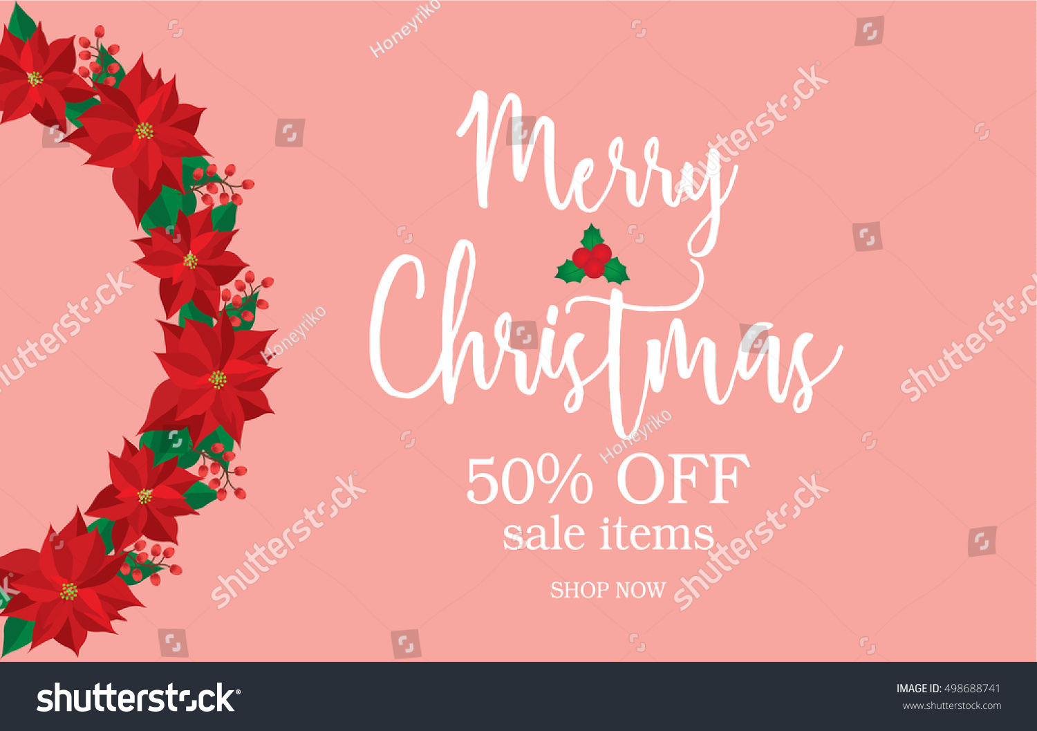Merry Christmas Sale Banner Red Poinsettiasale Stock