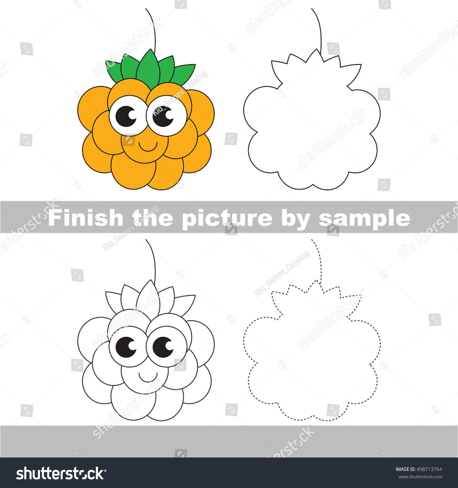 Drawing Worksheet Children Easy Educational Kid Stock Vector