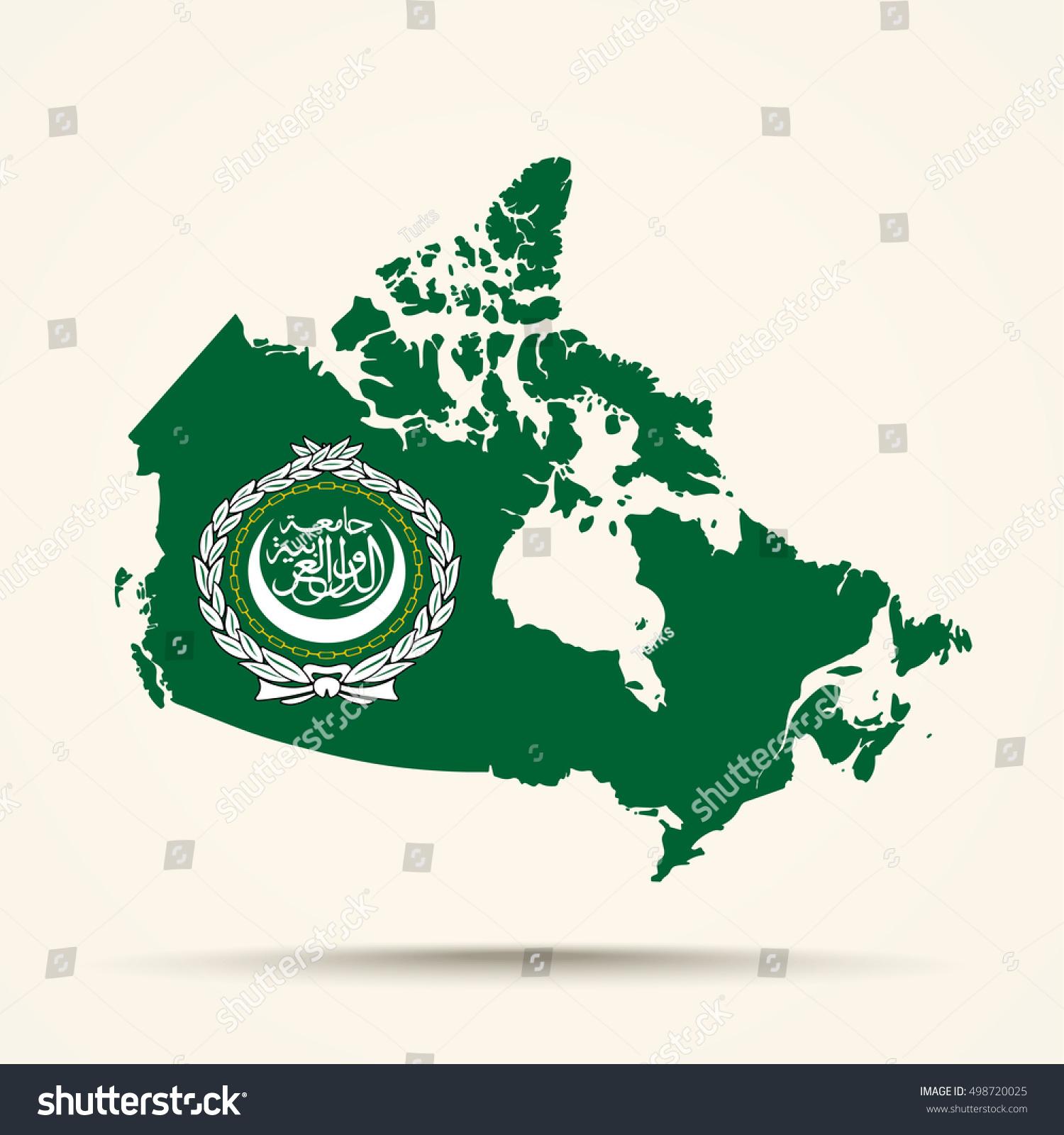 Picture of: Vector De Stock Libre De Regalias Sobre Map Canada Arab League Flag Colors498720025