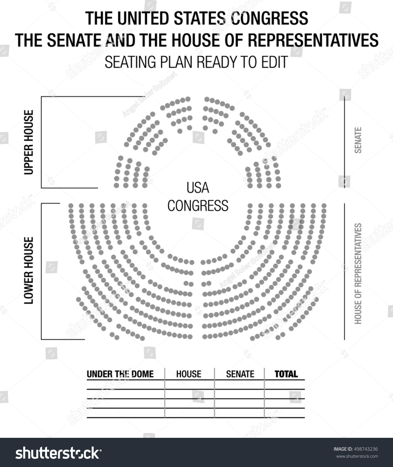 Editable Infographic To Show Results Of Elections. Seating Plan Of The  United States Congress: