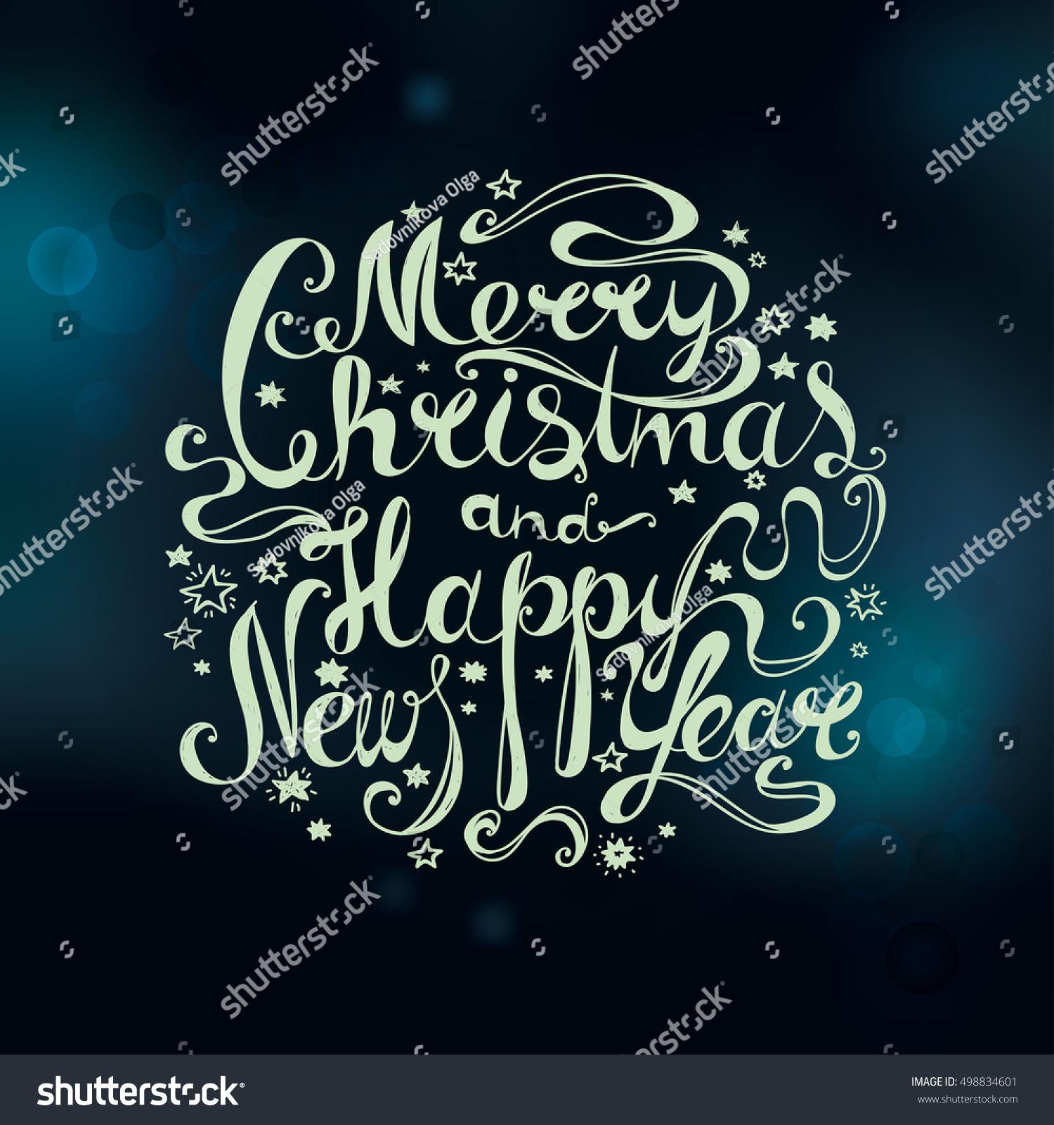 Lettering Merry Christmas Happy New Year Stock-Vektorgrafik ...