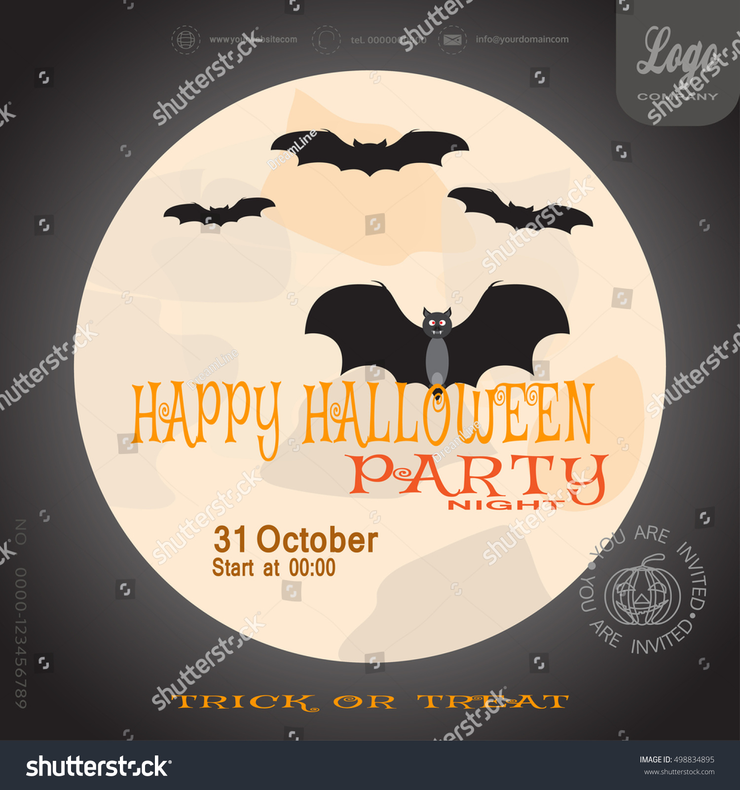 Vector Poster To Happy Halloween Night Party On The Dark Background With  Moon.
