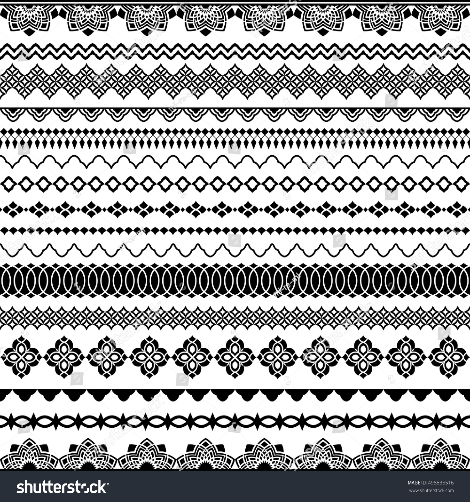 Vector seamless brushes for frames dividers borders Classic oriental style to decorate text design greeting card invitations