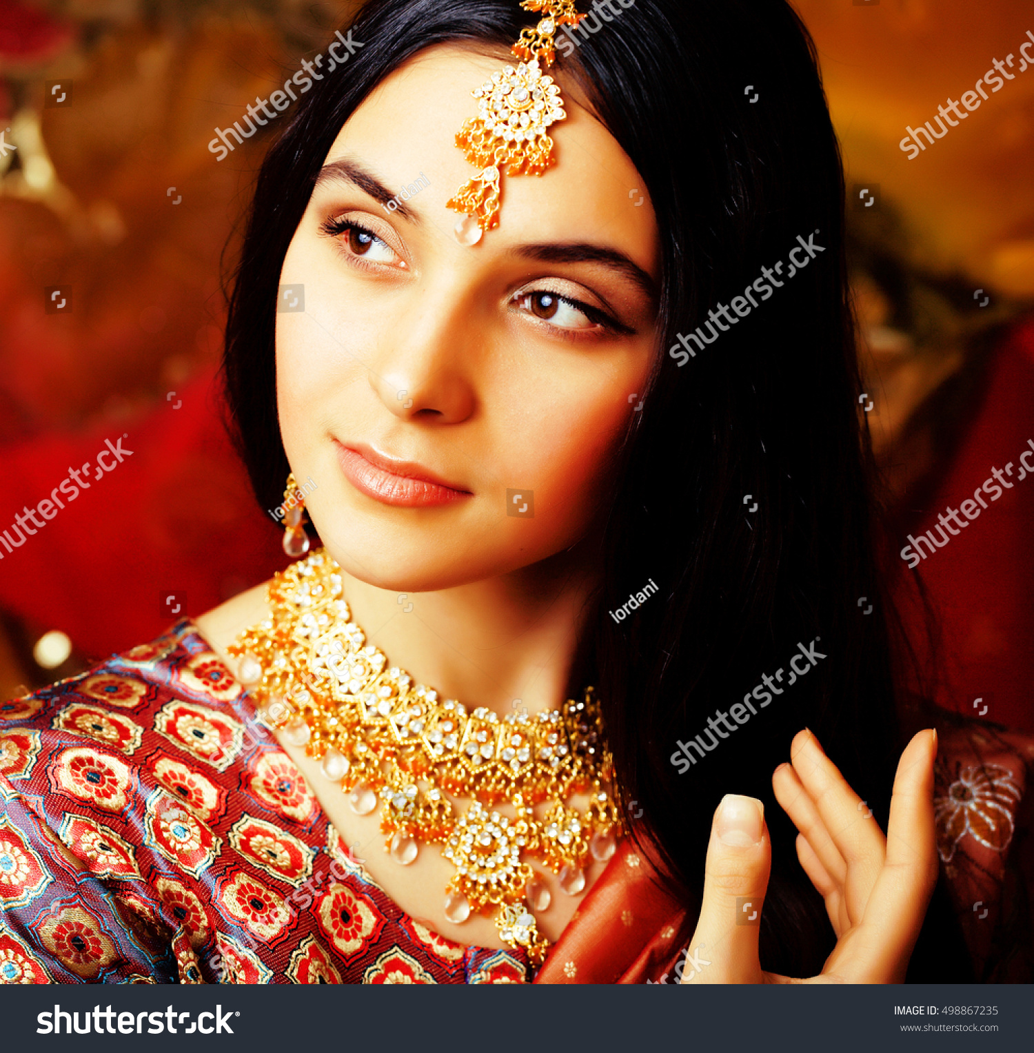 beauty sweet real indian girl sari stock photo (100% legal