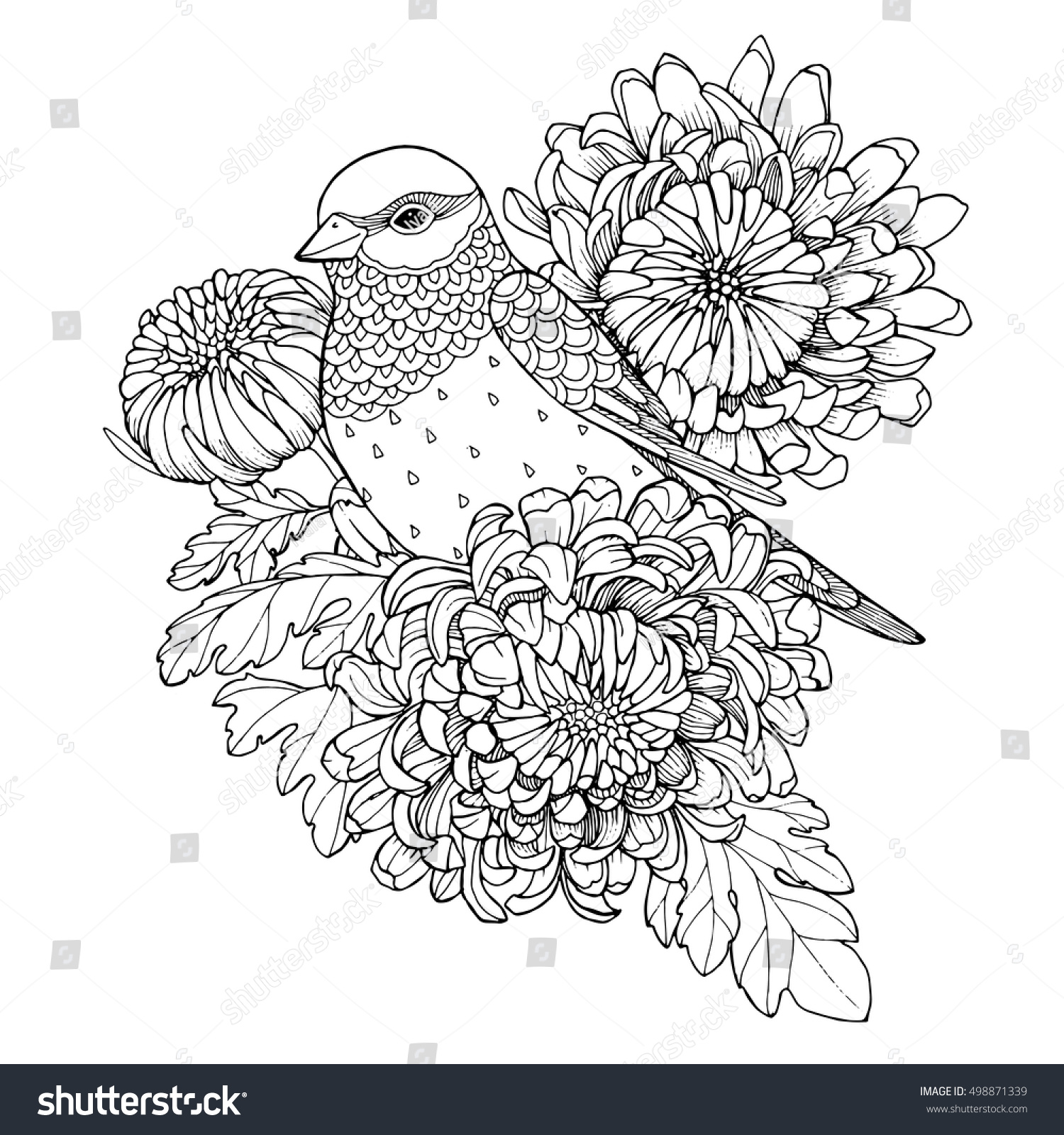 patterned bird sitting on chrysanthemum branch zentangle page for adult coloring book - Chrysanthemum Book Coloring Pages