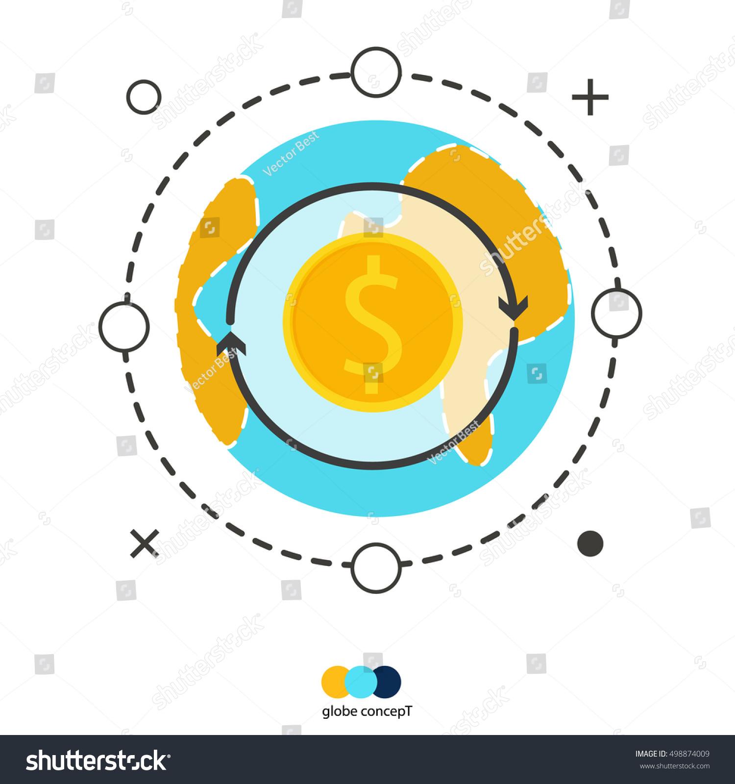 Globe concept money exchange currency world stock vector 498874009 globe concept of money exchange currency world converting money with dollar symbols global trading on buycottarizona Gallery