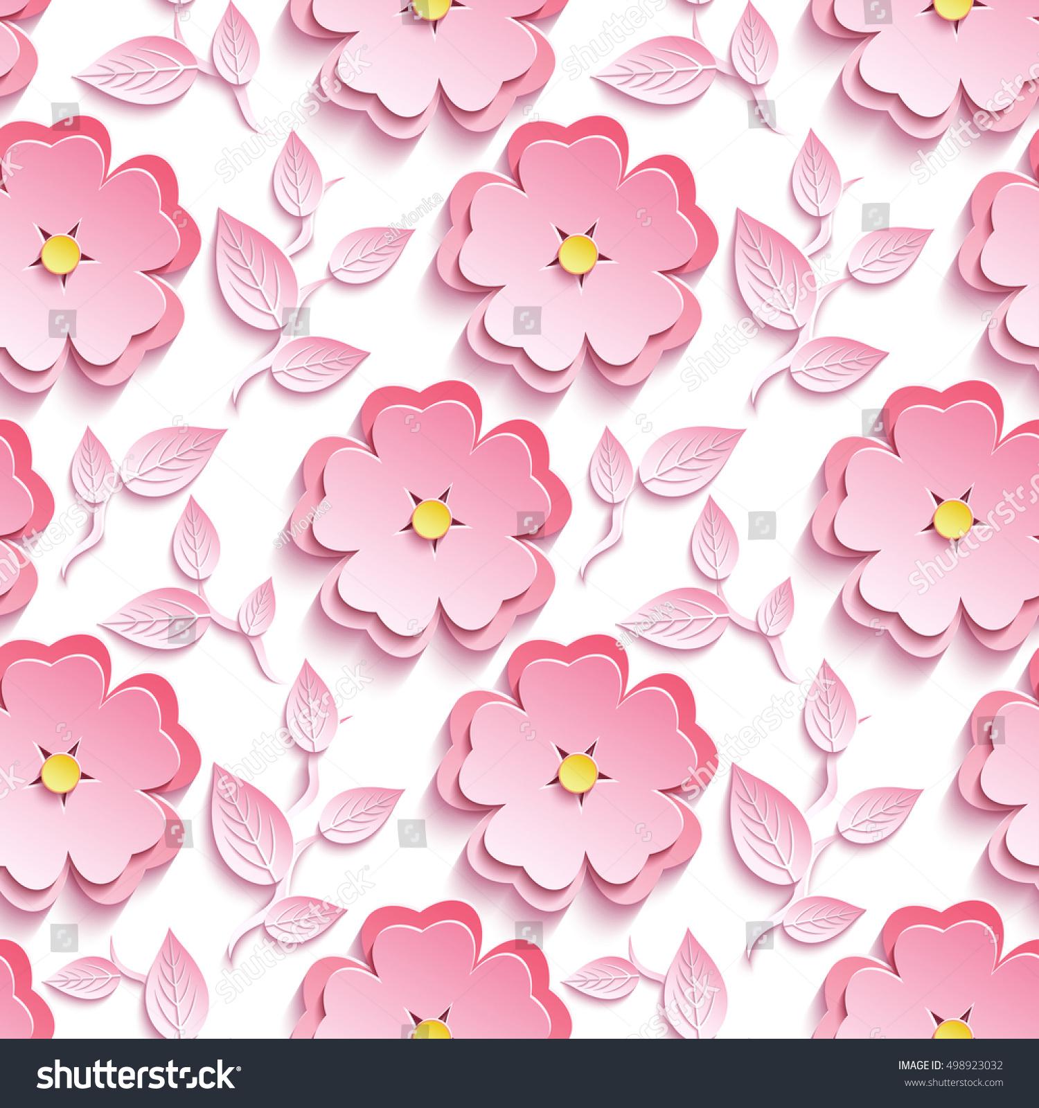 Background Seamless Pattern Pink 3 D Flower Stock Vector 498923032