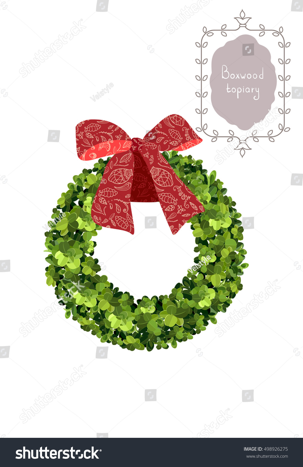 Christmas Wreath Red Bow Boxwood Topiary Stock Vector Royalty Free 498926275